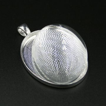 1pce x 30*40mm make your own pendant kit - oval - silver plated - c8008080